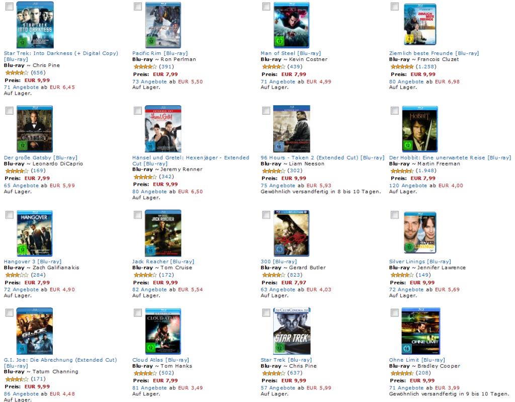 Rabattaktion 3 Blu-rays für 20 EUR bei Amazon
