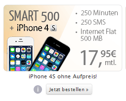 Apple iPhone 4S 8 GB mit Inklusivminuten Internet-Flat KW29-2014