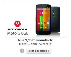 Motorola Moto G 8 GB mit Inklusivminuten Internet-Flat KW29-2014