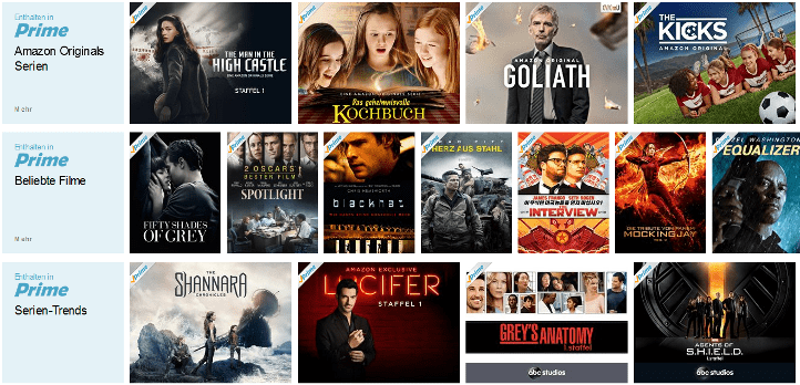 Amazon Prime Instant Video Sortiment
